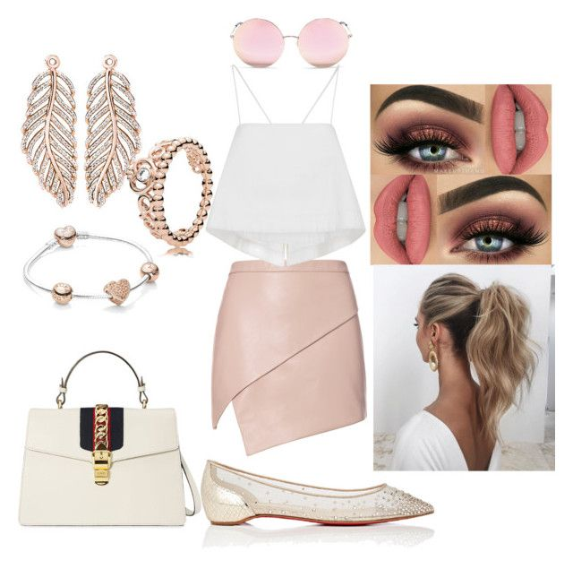 """""""Shopping"""" by giovannam-m ❤ liked on Polyvore featuring Michelle Mason, A.L.C., Christian Louboutin, Matthew Williamson, Love Couture, Gucci and Pandora"""