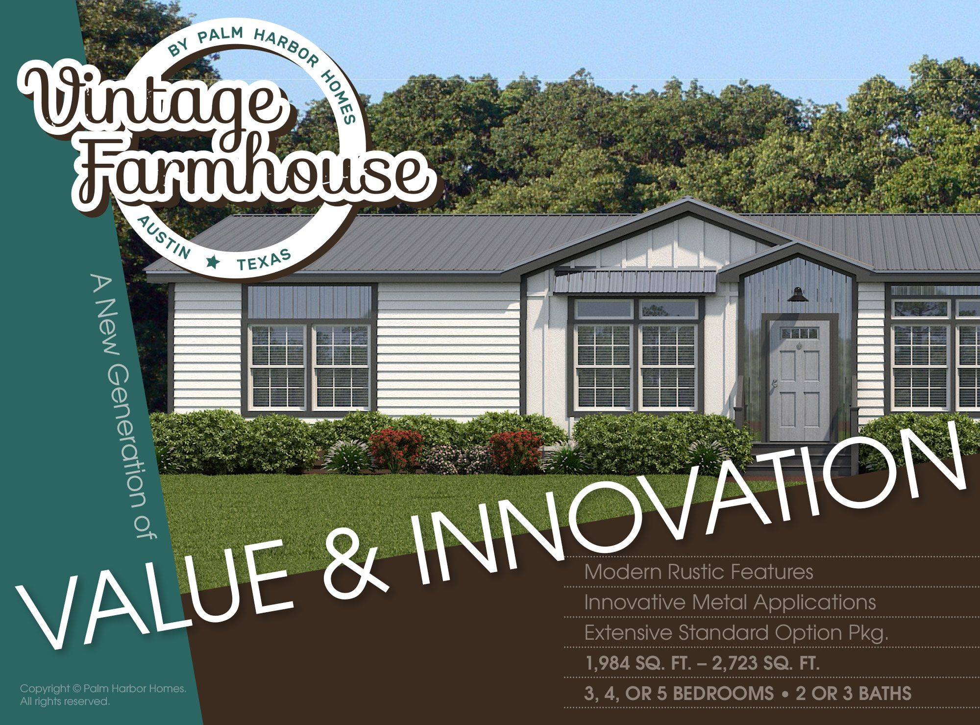 The Vintage Farmhouse Brand New Palm Harbor Model Coming To Texas See It In Austin First And Vintage Farmhouse Modern Farmhouse Exterior Palm Harbor Homes