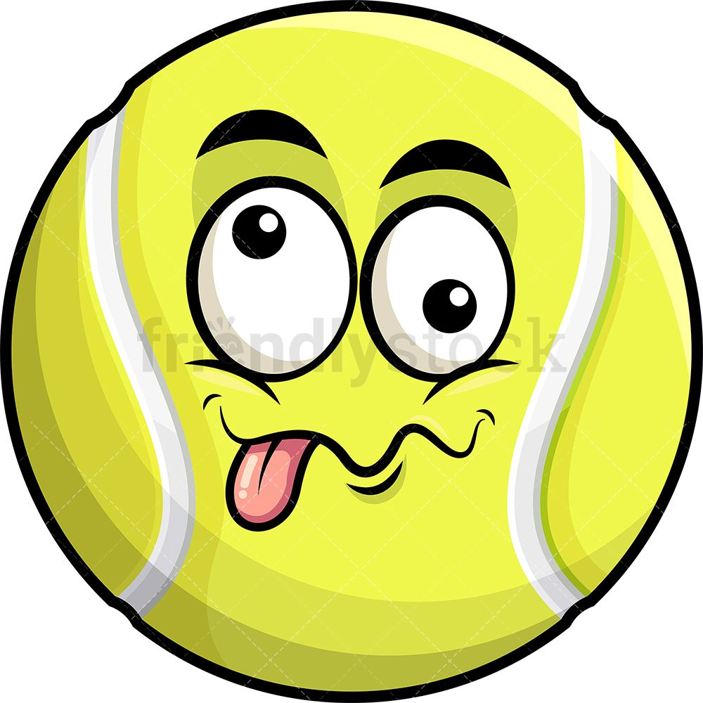 Goofy Crazy Eyes Tennis Ball Emoji Cartoon Clipart Vector Friendlystock Crazy Eyes Cartoon Clip Art Emoji
