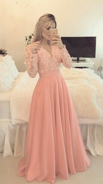 Charming Prom Dress,Long Sleeve Appliques Prom Dre
