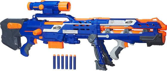 Blast the competition with the Nerf N Strike Elite Long Shot CS 6 Blaster.  A 2 in 1 Nerf gun for double the action.
