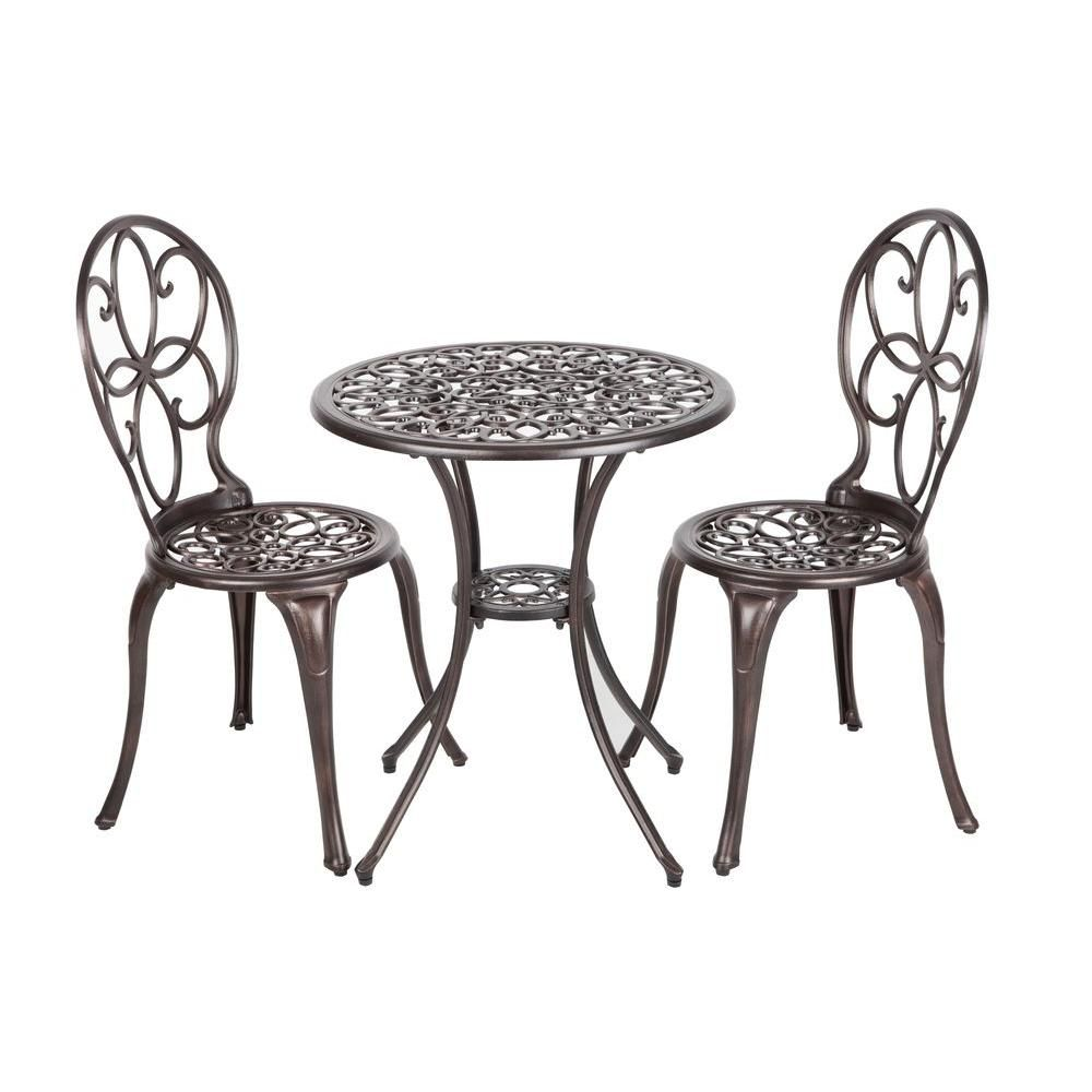 Patio Sense Arria Antique Bronze 3 Piece Aluminum Round Outdoor