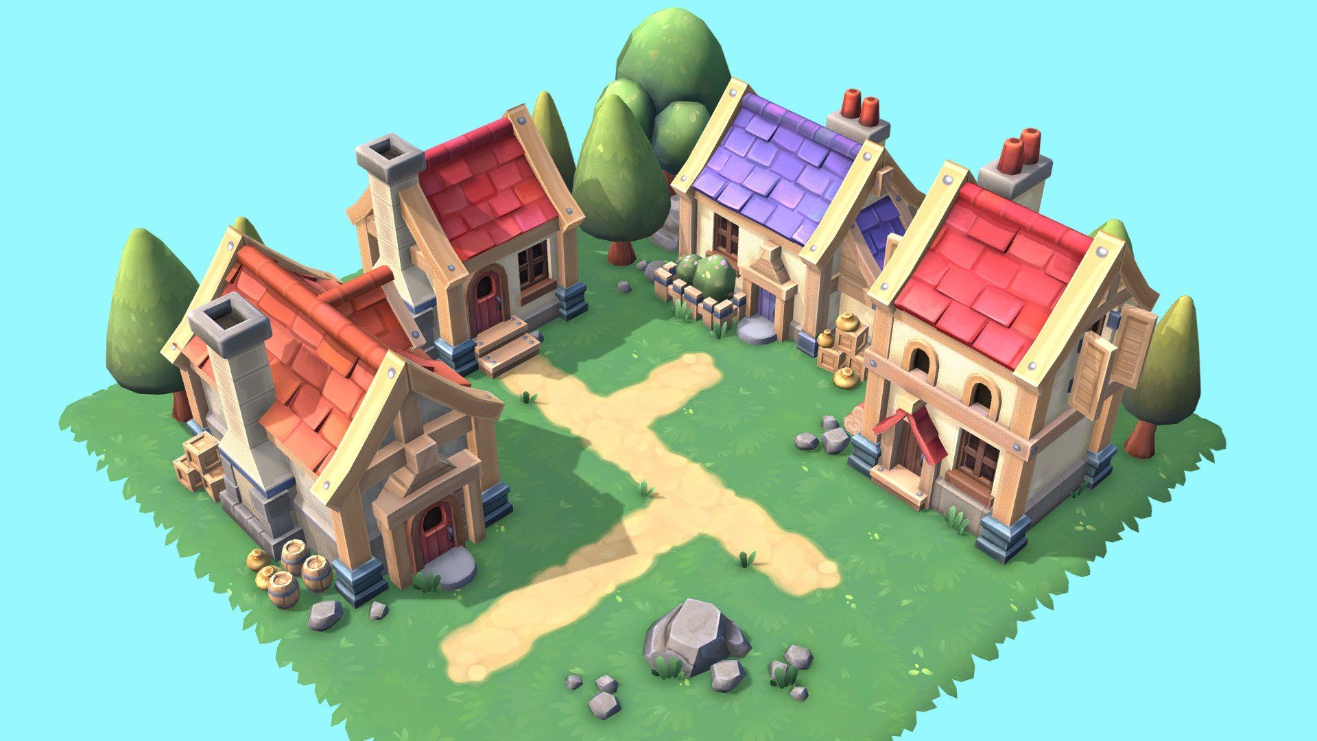 Hand Painted Low Poly Fantasy Style Village Set Perfect For