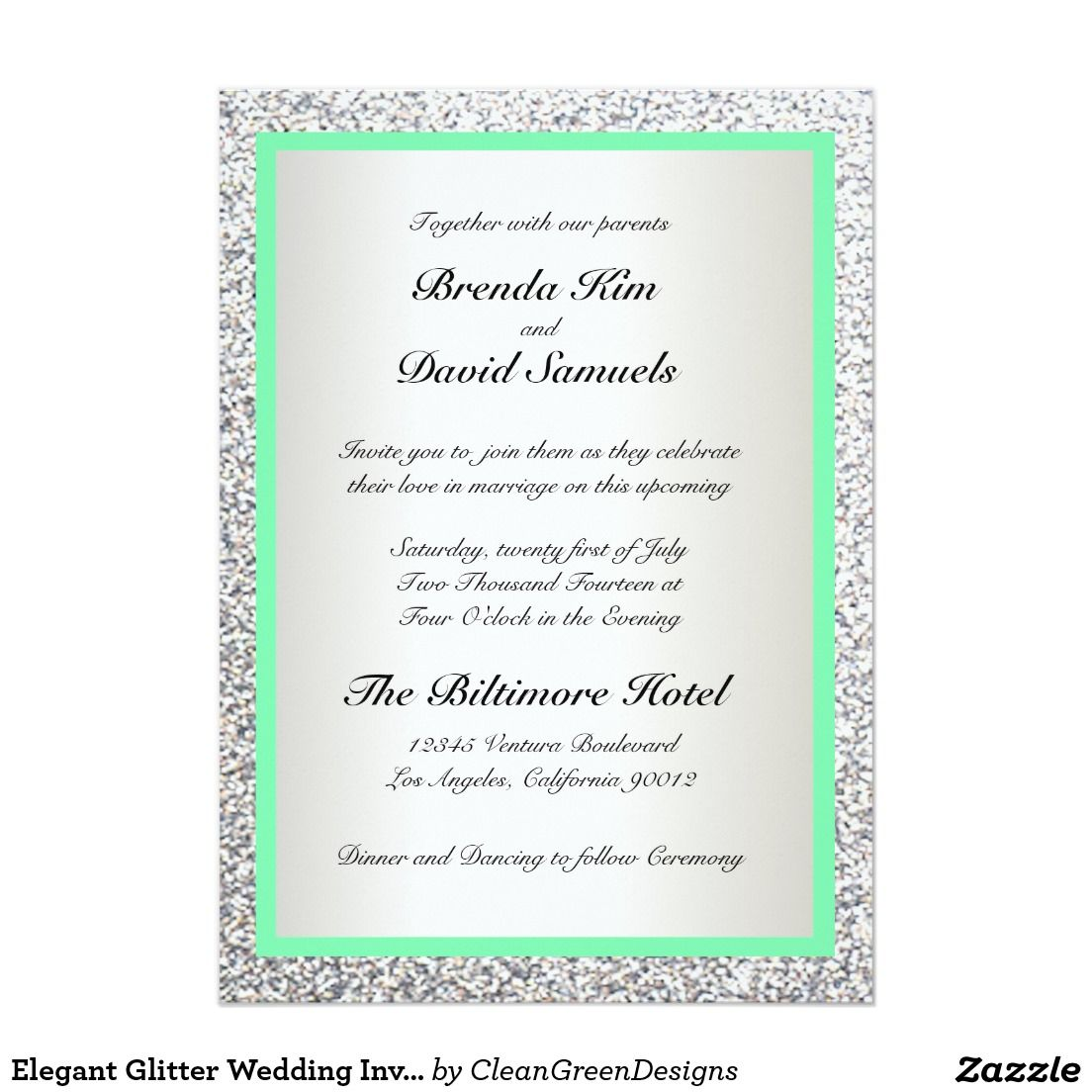 Elegant Glitter Wedding Invitation | Glitter wedding invitations ...