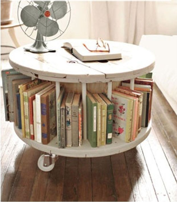reuse: from old cable spool to new library table