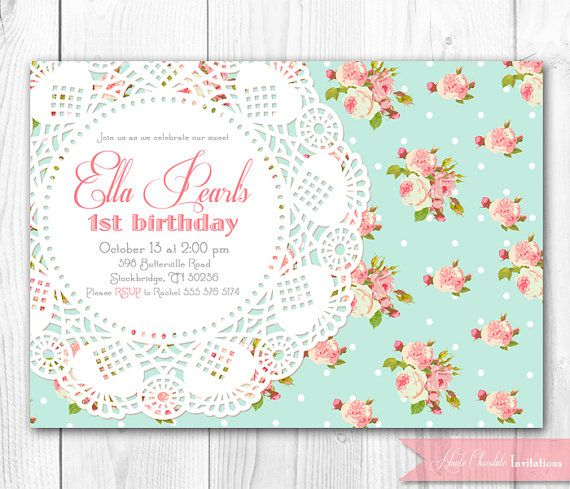 shabby chic invitation. vintage pearls & lace invitation. diy, Baby shower invitations