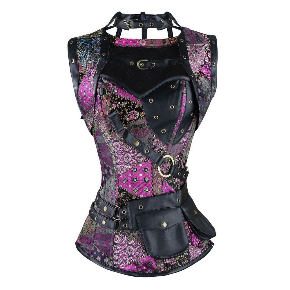 Korotus Womens Steampunk Gothic Vintage Steel Boned Brocade Overbust Corset with #Korotus #NotApplicable