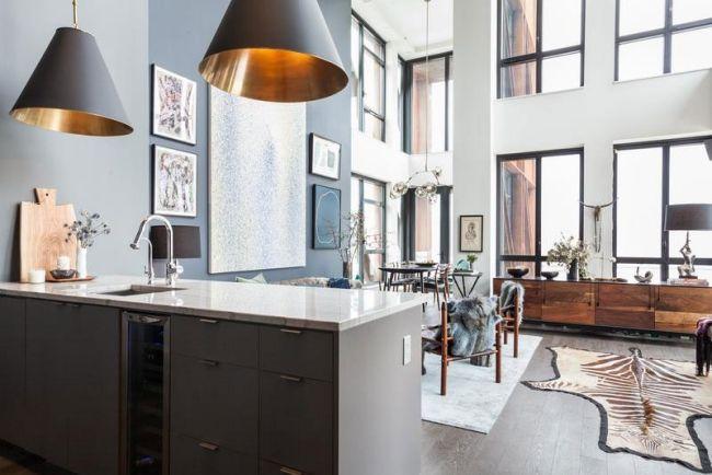 offener wohnbereich küche wohnzimmer essbereich pаnoramafenster - wohnzimmer mit offener küche