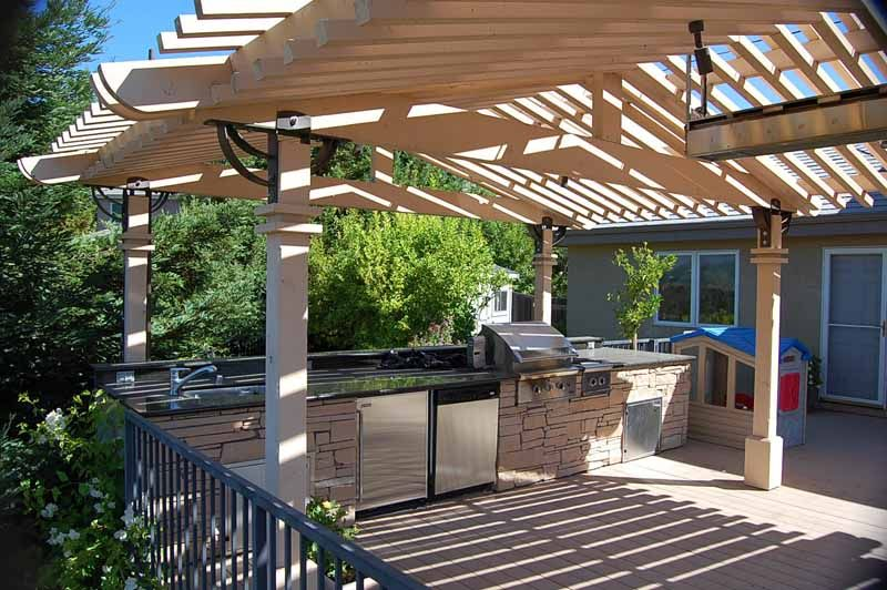 pergola deck ideas download outdoor kitchen with wood