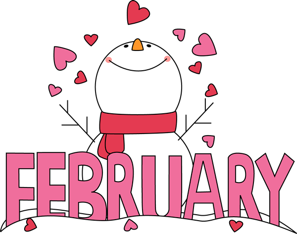 Calendar Word Art : February clip art month of snowman love