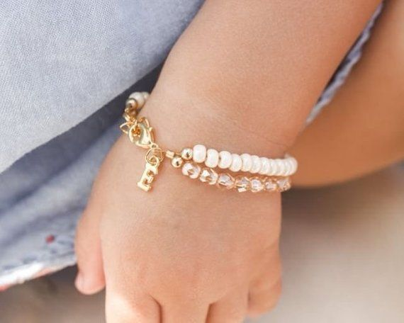 Baby Bracelet For Girls Cream First Birthday Gift Personalized Jewelry I