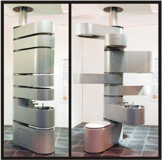 worldu0027s smallest bathroom has toilet tank sink 2 shower heads 2