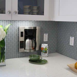 Vertical Subway Tile Glass Tile Backsplash Kitchen Gray Subway