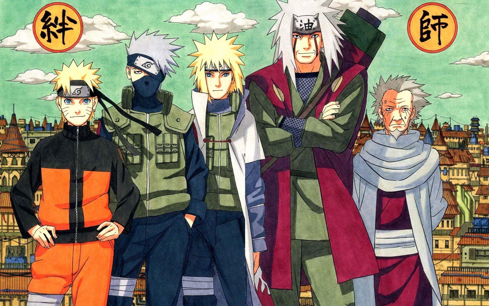 Anime Naruto Jiraiya Naruto Kakashi Hatake Minato Namikaze Hiruzen Sarutobi Fond D Ecran Naruto Jiraiya Naruto Kakashi Naruto Images