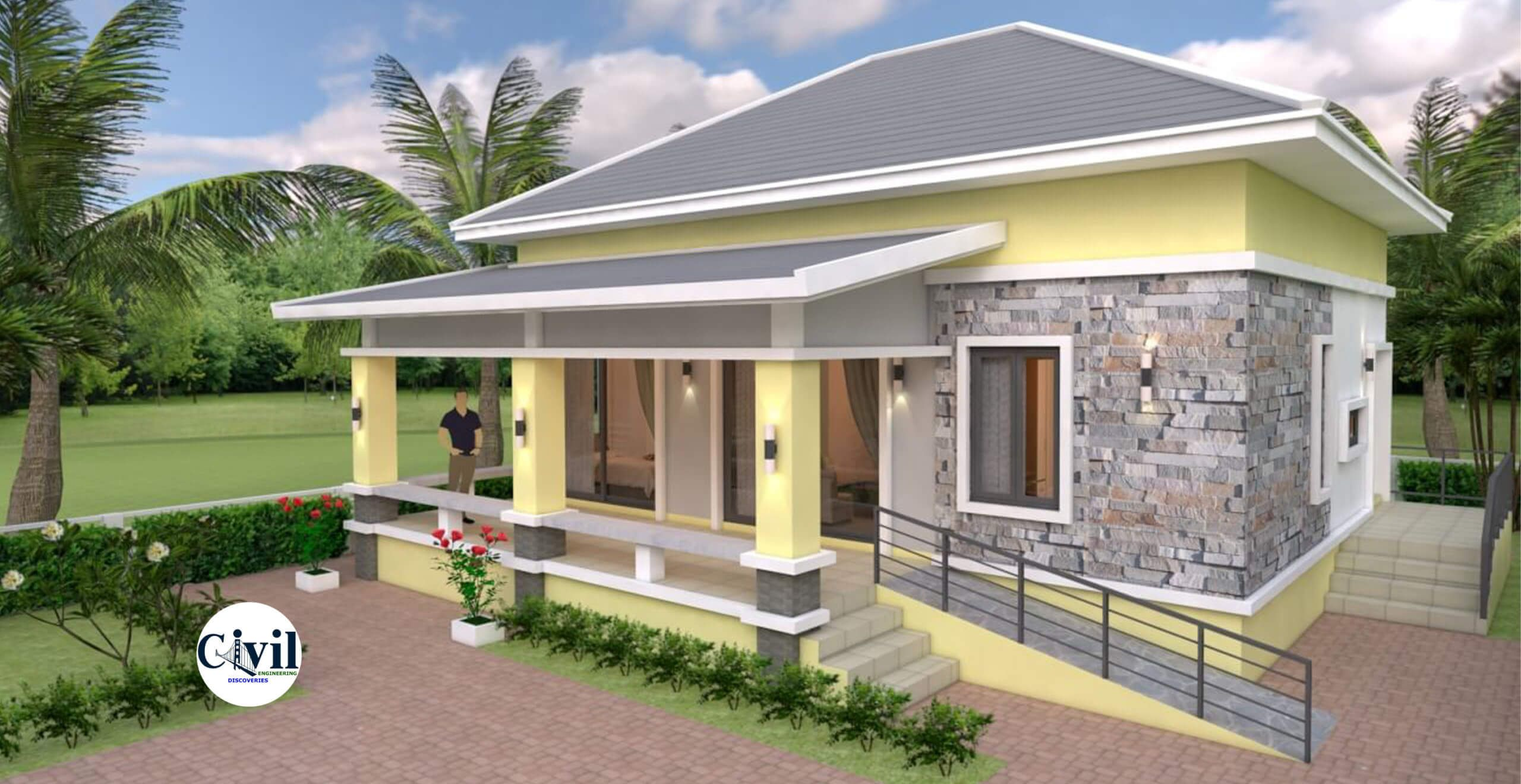 House Design 10 10 With 3 Bedrooms With Hip Roof Engineering Discoveries In 2020 Unique House Design Two Story House Design Bungalow House Design