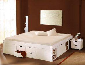 schubkasten-doppelbett göteborg aus kiefer in weiß mit stauraum, Hause deko