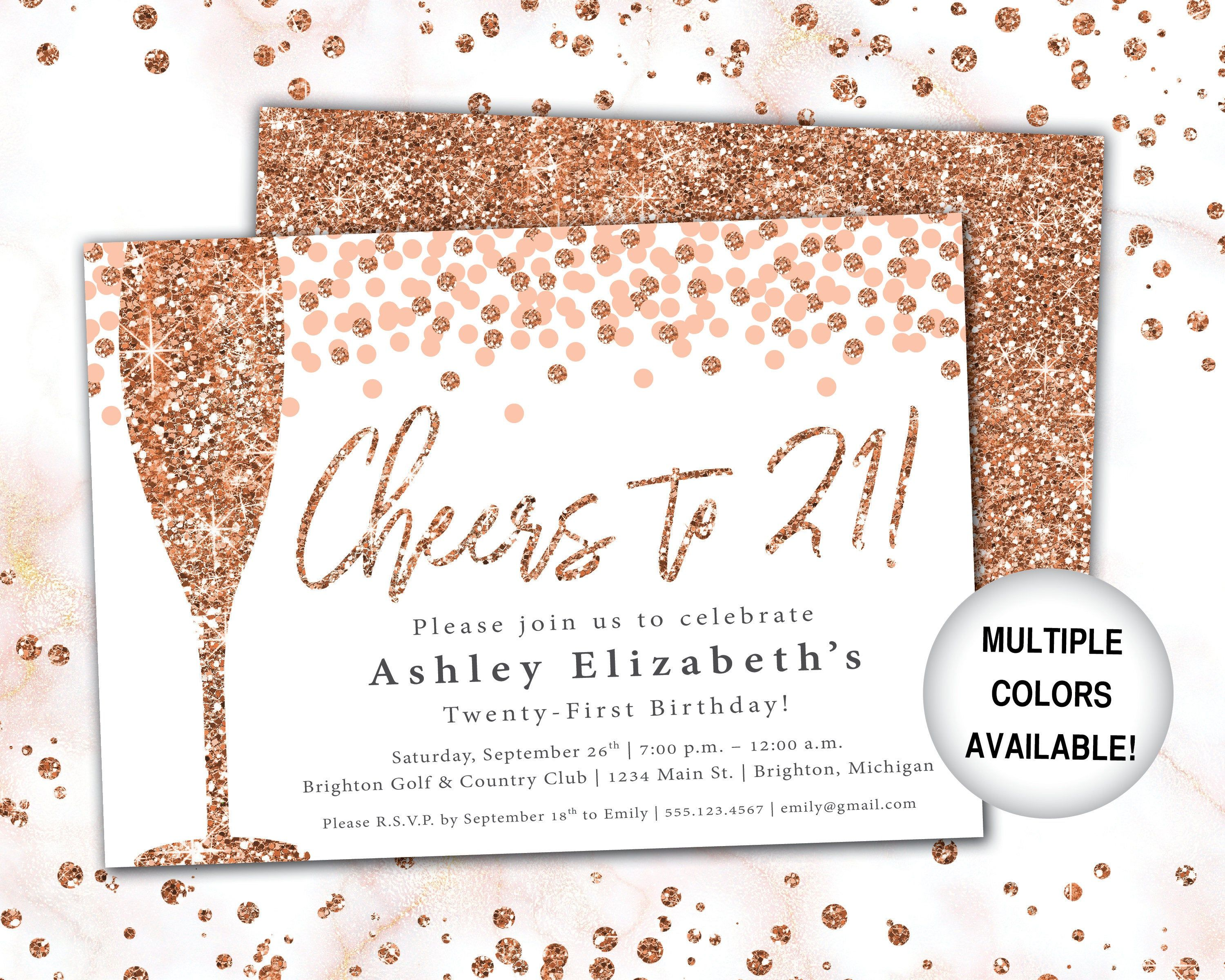 Cheers to 4 Invitation Rose Gold Champagne 4st Birthday  Etsy