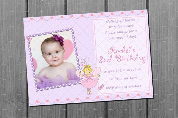 Free Birthday Stationary ~ Pink and lavender girl fairy birthday party invitation and free