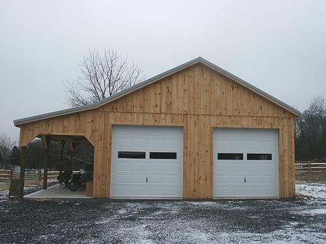 Barn This 28 X36 X12 Pole Barn Has 10 Wide Lean To Two 10 X10 Garage Building A Garage Barn Plans Barn Garage