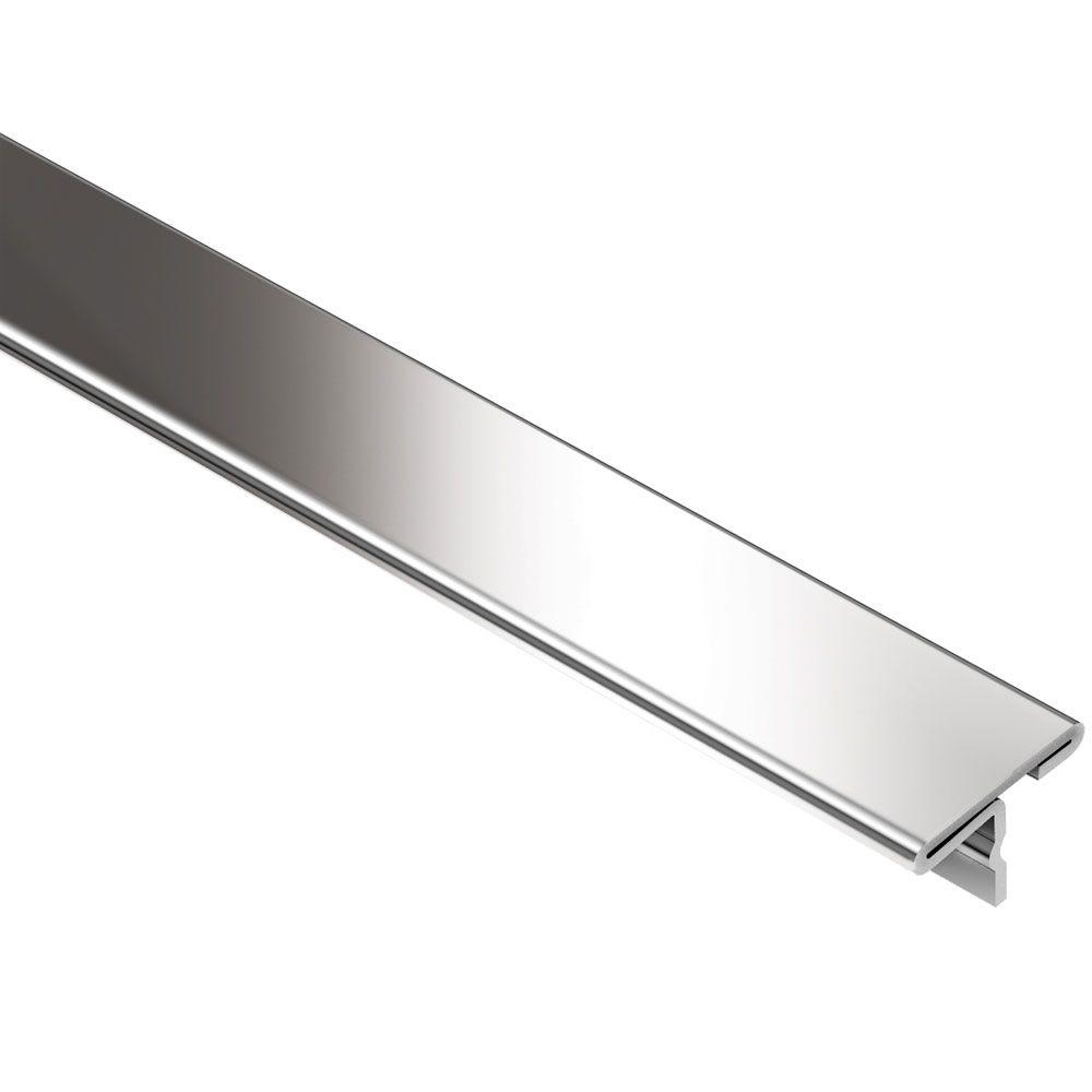 Schluter Reno T Stainless Steel 1 In X 8 Ft 2 1 2 In Metal T Shaped Tile Edging Trim T9 25e The Home Depot In 2020 Tile Edge Stainless Steel Tile Tile Edge Trim