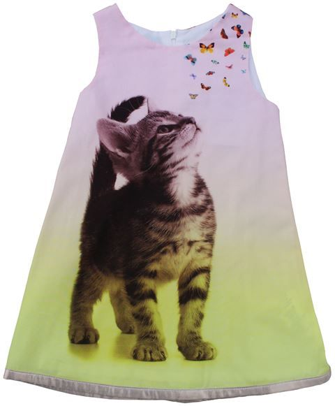 Anne Kurris - jurk kat vlinders - Wat een zalig mooie jurk. De zachtroze kleur bovenaan gaat geleidelijk over in een mooi geel. Het katje kijkt naar kleine vlindertjes. Gouden stof als boord en in de plooi achteraan. Rits achteraan. Losse voering. 100% katoen.