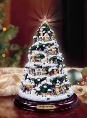 Thomas Kinkade A Holiday Gathering Illuminated Christmas Tree