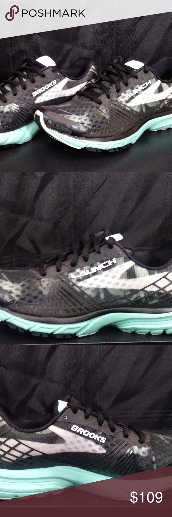 39e09df0415 Brooks Launch 3 Black White Ice Green SIZE 6.5 Liquidation Buy Brand New  from Shoe Chain - New in Box - Some shoes may have been tried on