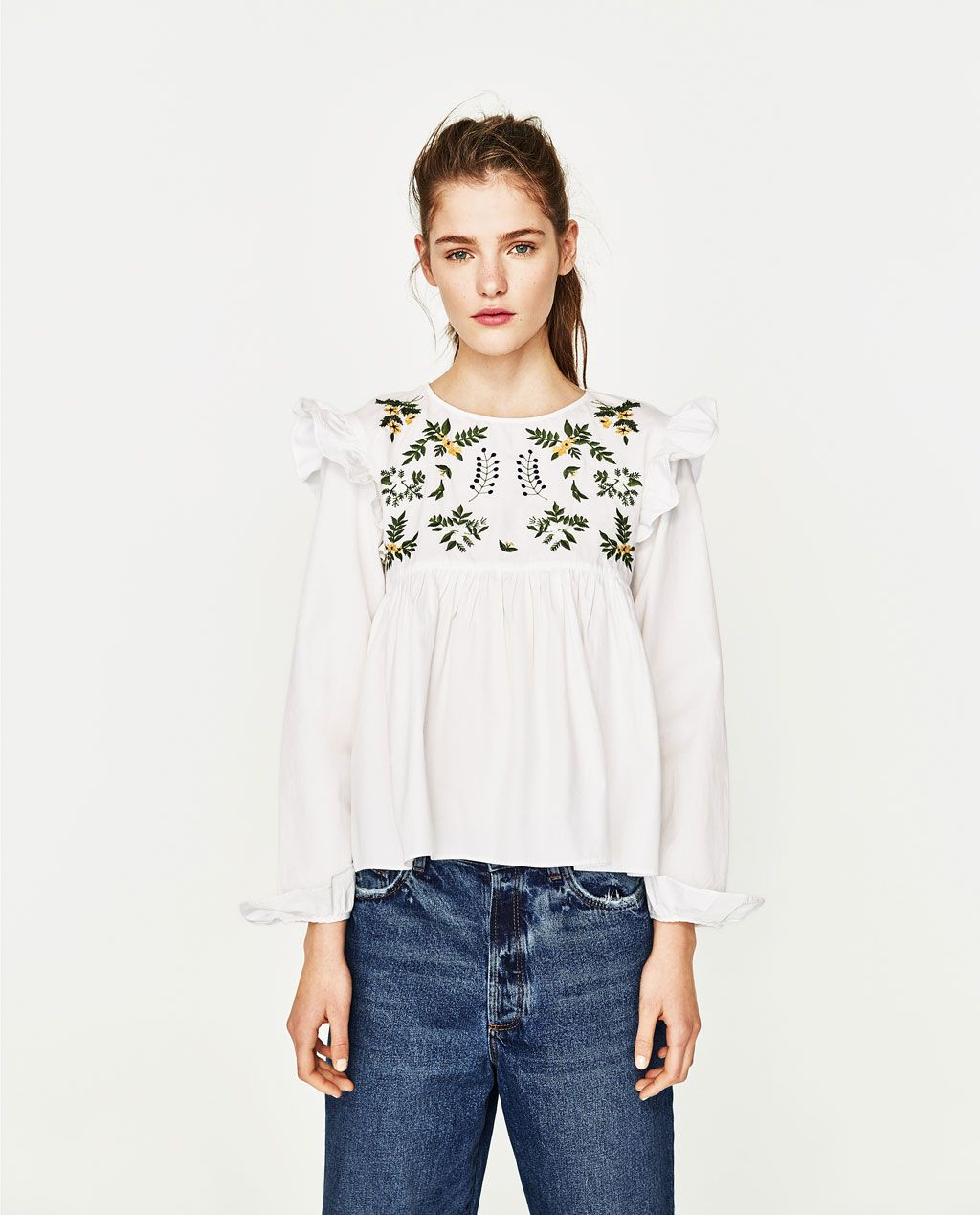 ZARA - WOMAN - SHIRT WITH EMBROIDERED FLOWER | Spring 2017 ...