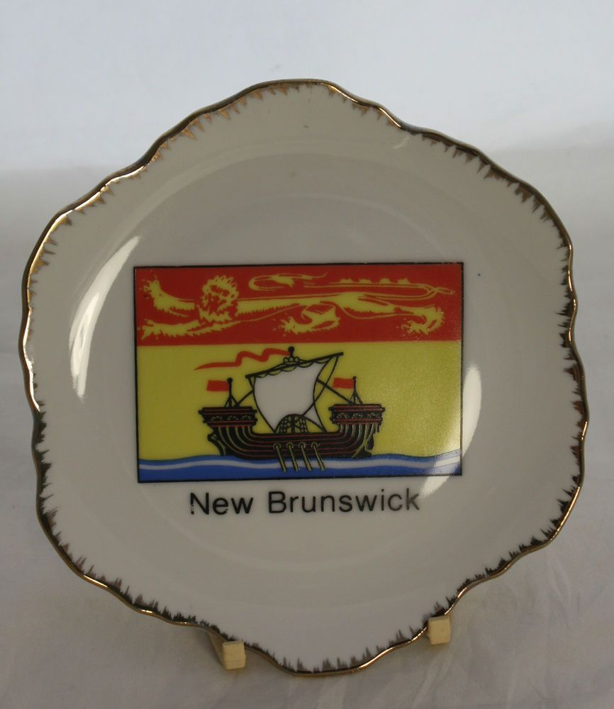 Vintage Decorative Wall Plate New Brunswick Canada Gold Trim ...