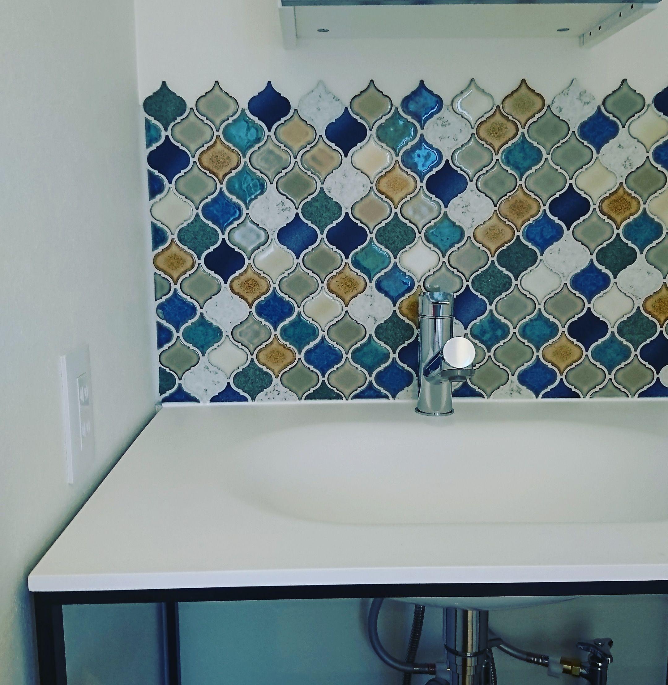 リバーの施工事例一覧 株式会社リバー 洗面 壁紙 タイル モロッコインテリア