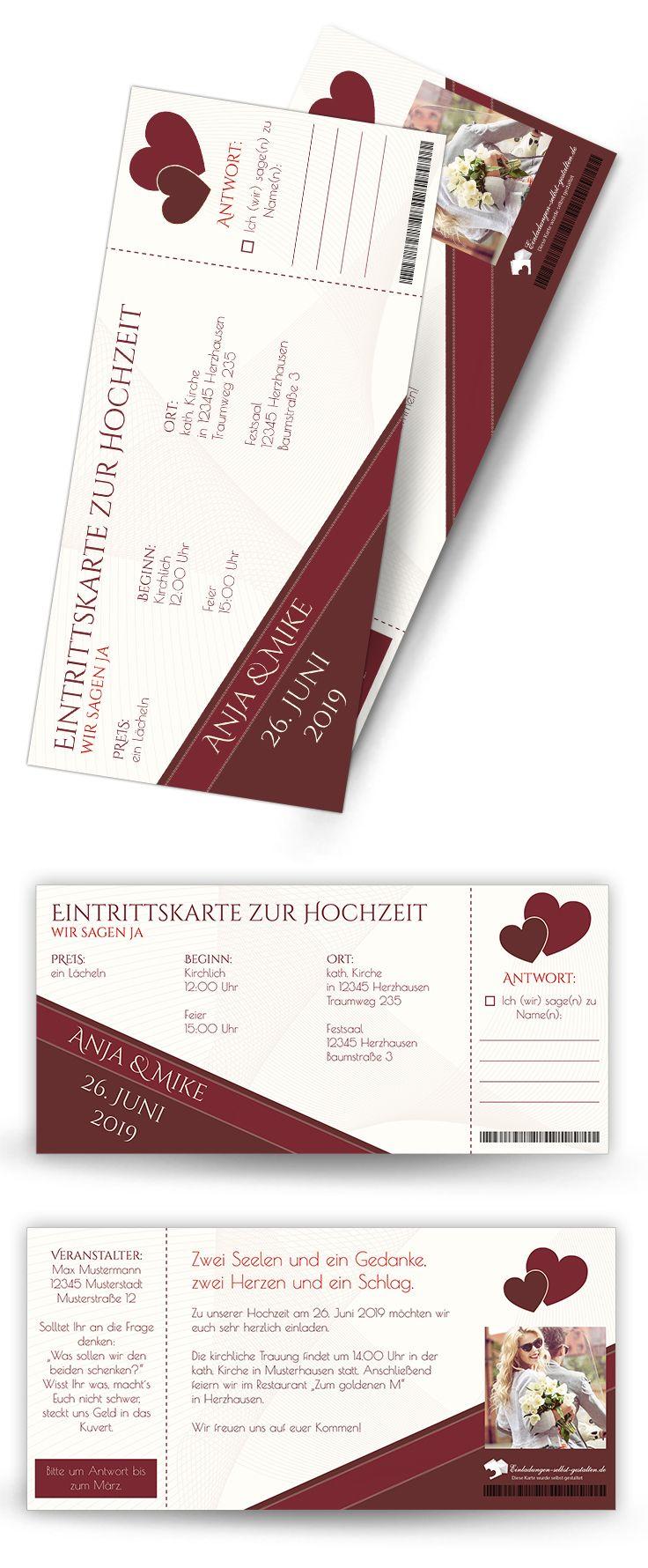 Echte Eintrittskarten Mit Vorgefertigter Perforierung Zum Abreißen. Ein  Highlight Unter Den Kreativen Hochzeits Einladungskarten