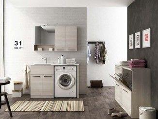 Mobile lavanderia componibile con ante a battente con lavatoio