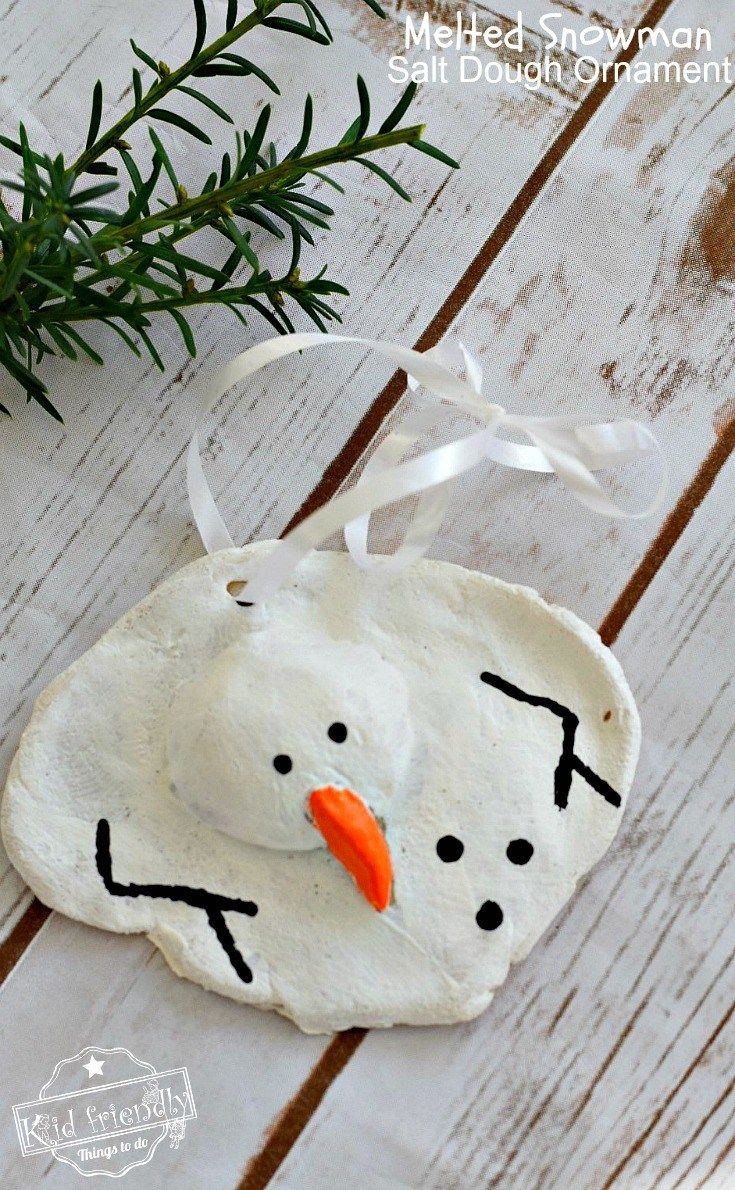 A Diy Melted Snowman And Candy Cane Salt Dough Ornament Idea And Recipe For Christmas With Kids Salt Dough Christmas Ornaments Kids Ornaments Homemade Christmas