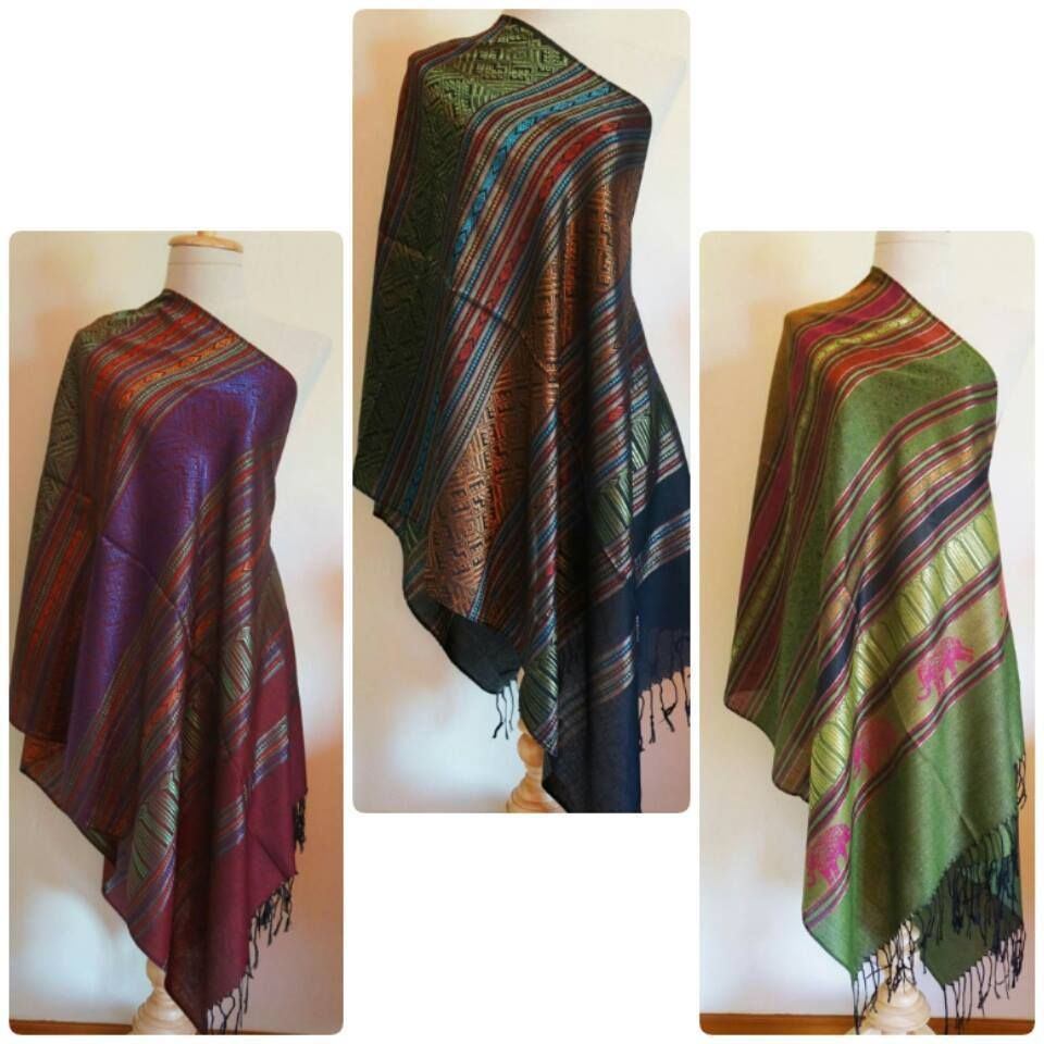 dbbbf039825 Details about HAND WOVEN 100% THAI SILK PASHMINA SCARVES/SHAWLS IN 3 ...