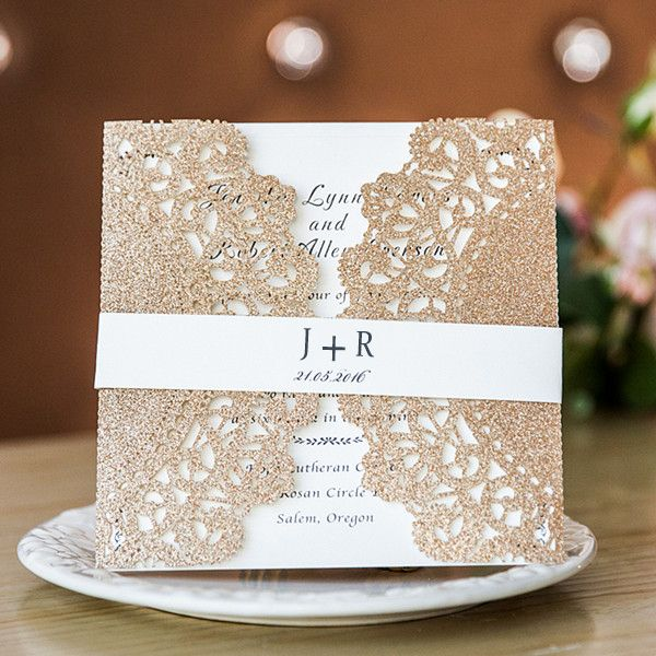 Luxurious Rose Gold Lace Laser Cut Wedding Invitations With Printed Belly Band Ewws150