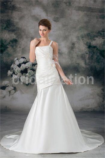 Ivory Zipper-back Appliques Outdoor/ Garden Mermaid/ Trumpet Wedding Dresses