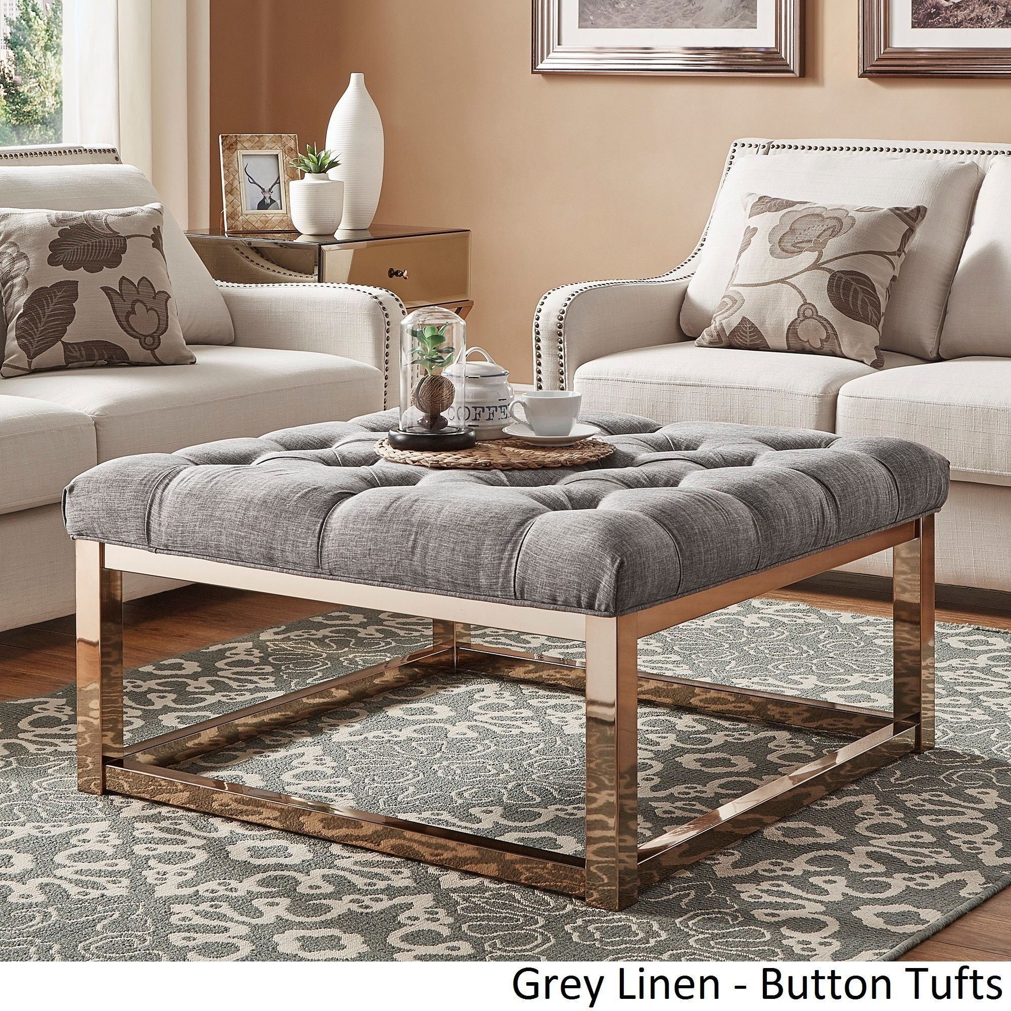 Solene Square Base Ottoman Coffee Table - Champagne Gold by Inspire Q  ([Dark Brown PU]- Dimpled Tufts)
