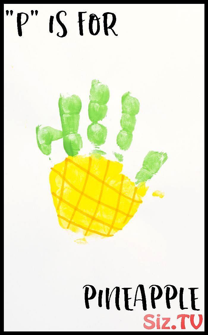 """Letter """"P"""" Pineapple Handprint Art for Preschoolers,  ... Letter """"P"""" Pineapple Handprint Art for Preschoolers,"""