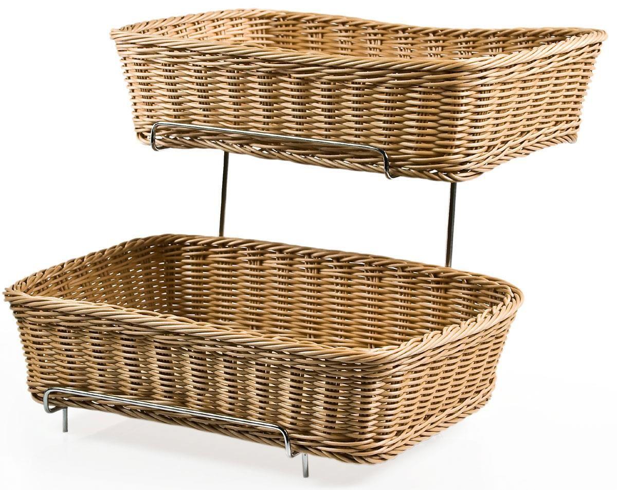 2 Tiered Basket Display Stand Brown Plastic Wicker Bins Metal