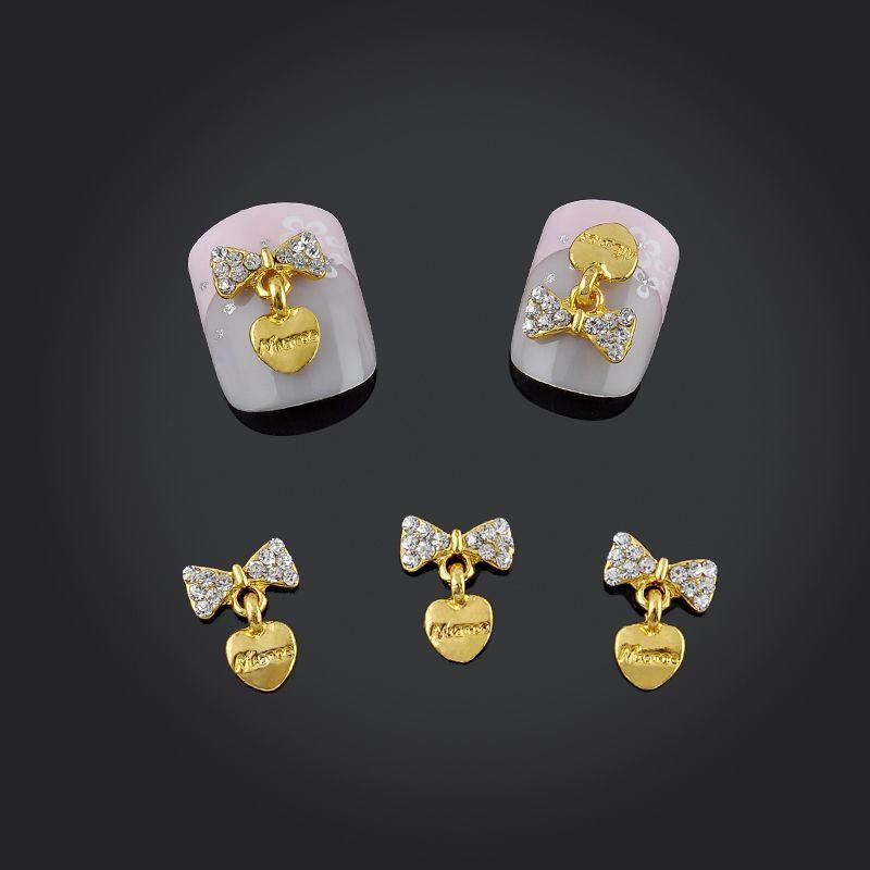 반짝이 10 개/갑 모조 다이아몬드 활 골드 심장 네일 아트 장식 3d 네일 보석 도구 합금 장식 무료 배송