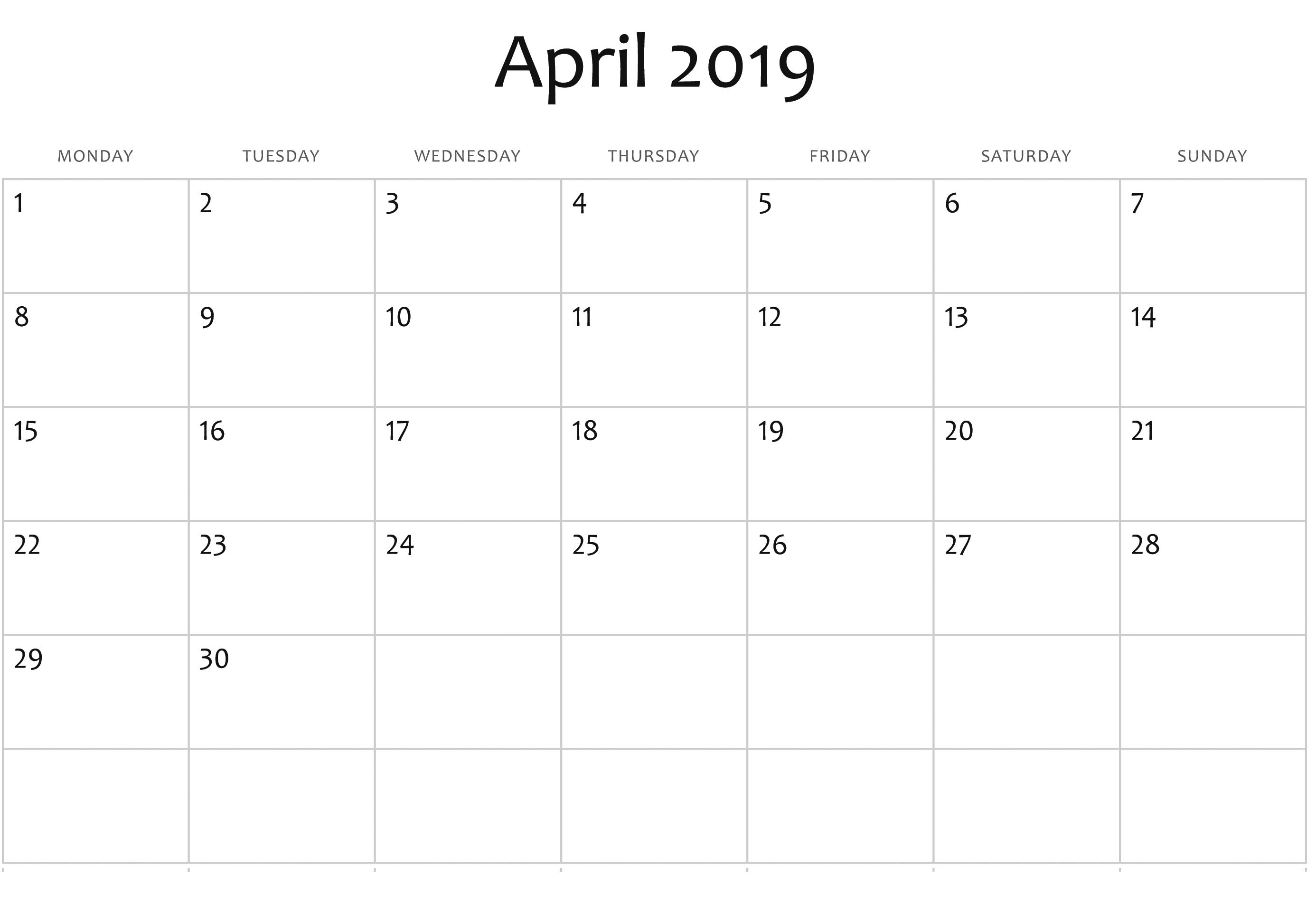 Calendar 2019 Editable Blank April 2019 Editable Calendar Templates | Calendar 2019