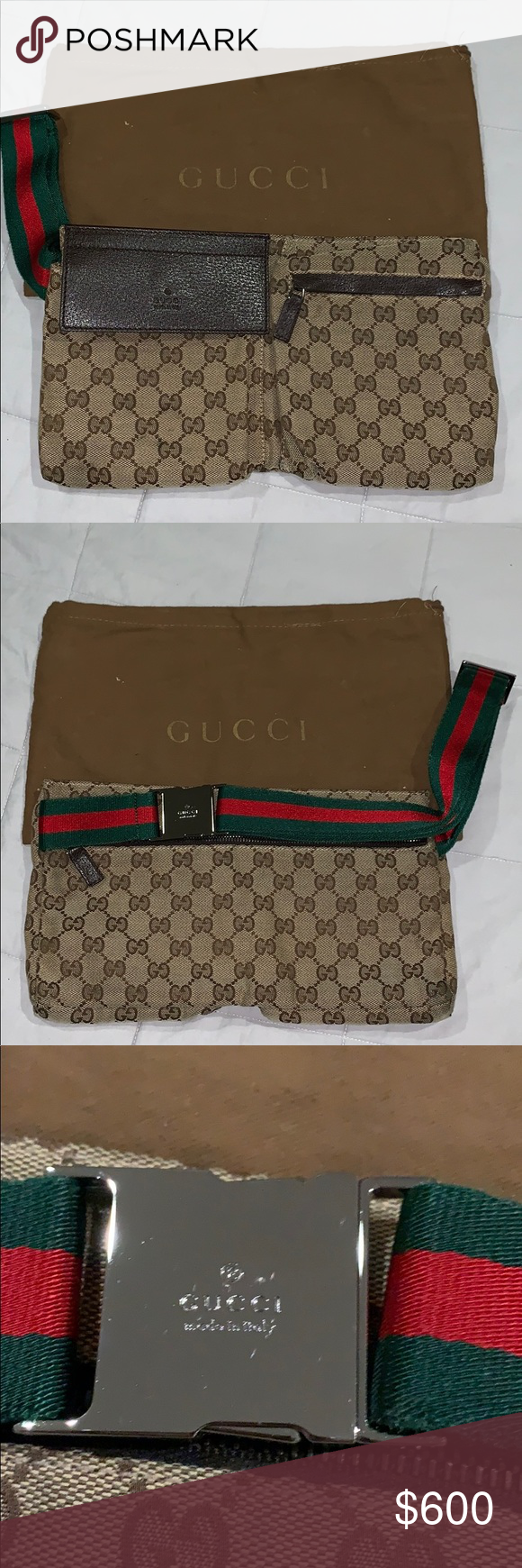 37ed59855a4 Gucci Italy GG Brown Webby Fanny Pack GG monogram canvas  leather trim