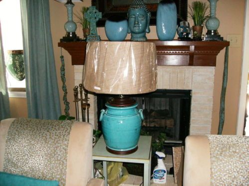 26 Turquoise Pottery Lamp Ebay For Round Table In