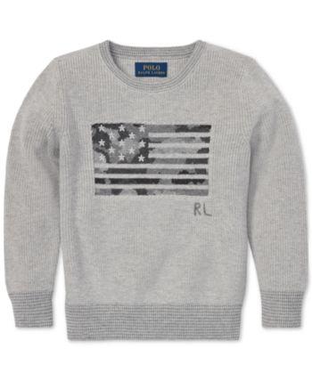 8394fa86e6699 Polo Ralph Lauren Big Boys Camo Flag Cotton Sweater - Andover Heather Multi  XL (18 20)