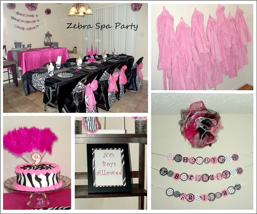 Zebra Spa Party Decorating Ideas Spa party Spa and Zebra party