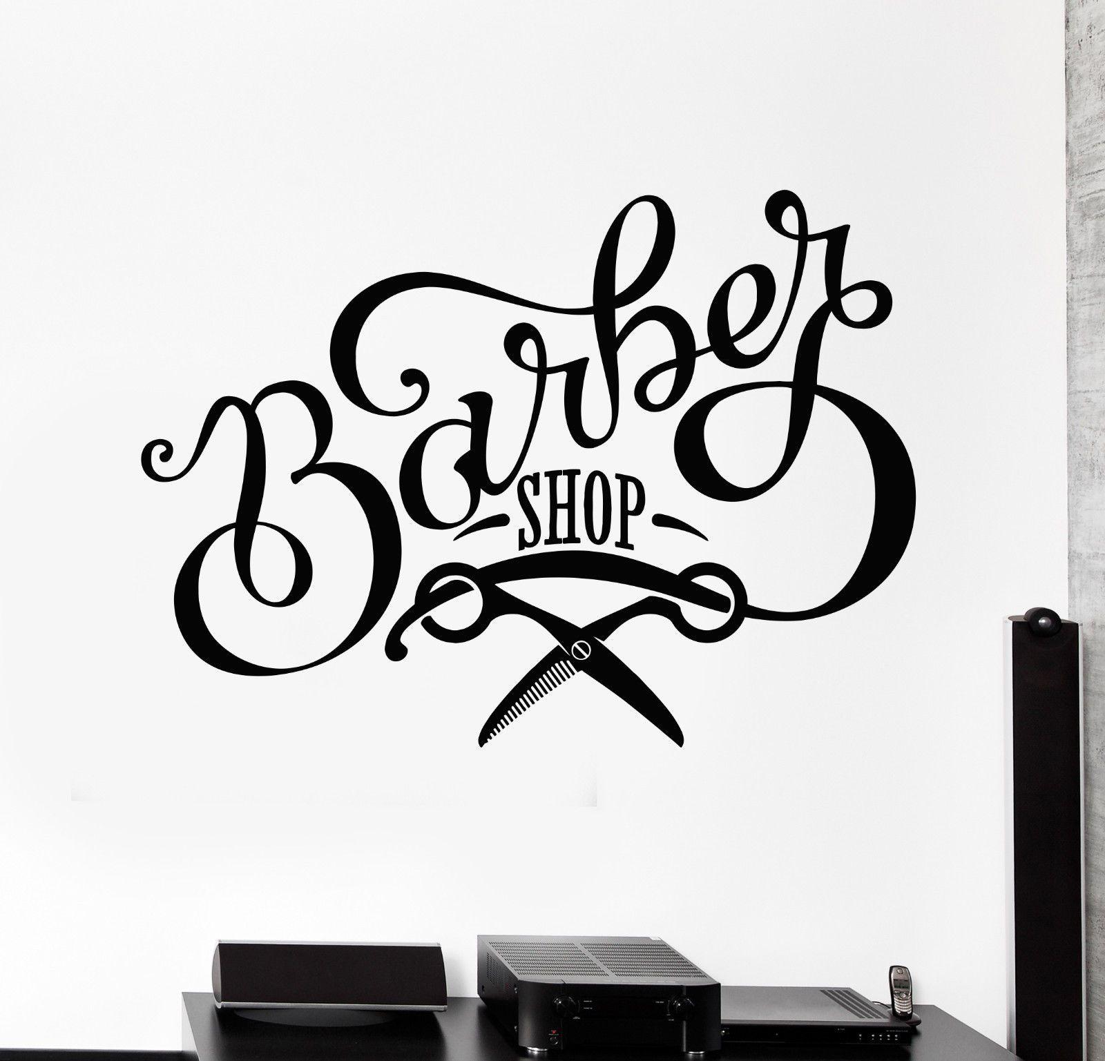 Vinyl Wall Decal Barbershop Scissors Signboard Beauty Hair Salon Stickers 1456ig Ebay In 2021 Barber Shop Hair And Beauty Salon Vinyl Wall Decals [ 1537 x 1600 Pixel ]