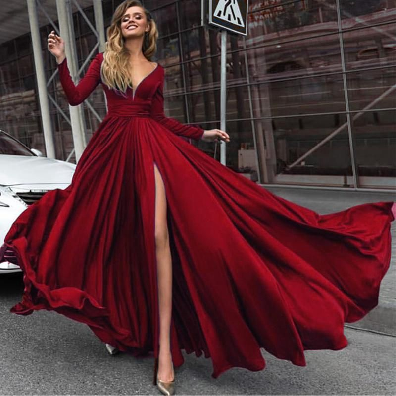 a131fc7eb6b LP3375 Silk Long Sleeved Evening Prom Dresses 2019 V neck Formal ...