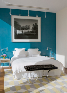 blue accent wall   Painting in 2019   Accent wall bedroom ...
