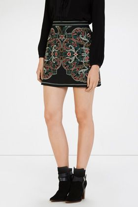 folk-inspired mini skirt with colourful embroidery