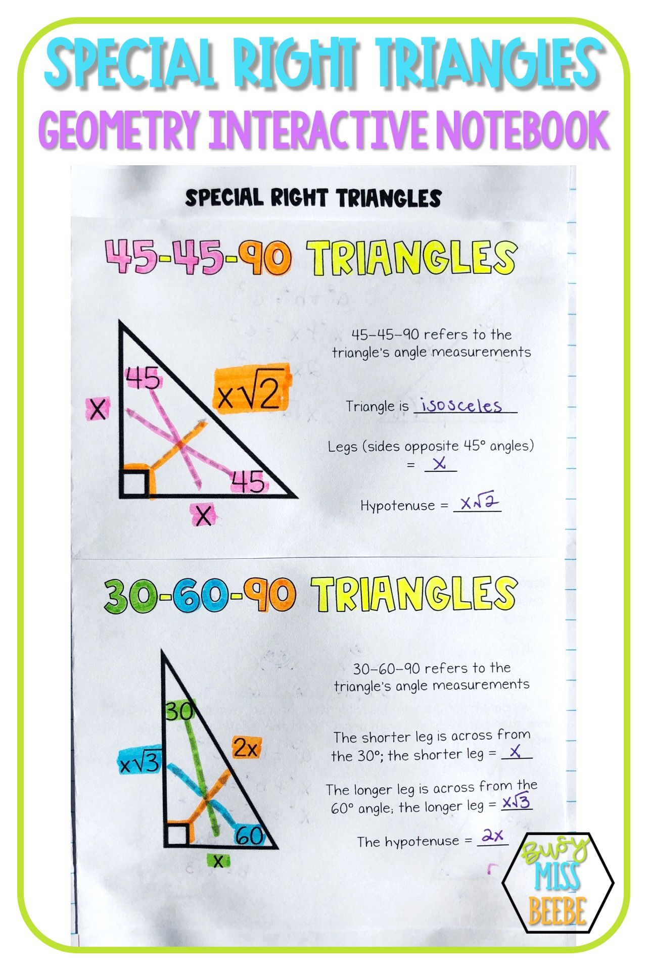 Geometry Interactive Notebook Right Triangles In